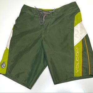 """Size 32"""" Volcom Army Green-White Board Shorts"""